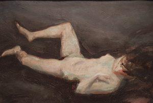 Alfons Walde - Damenakt - Öl auf Karton - 17x25 cm