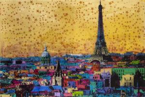 Bonjour Paris Unikat Siebdruck auf Acrylglas 100 x 150cm