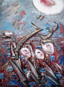 Christian Ludwig Attersee - Zierrechnung - Acryl Lack auf Leinwand und Rahmen 1984 - 121x96cm