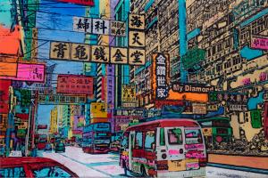 Hongkong---Siebdruck-auf-Acrylglas-Unikat-80x120cm