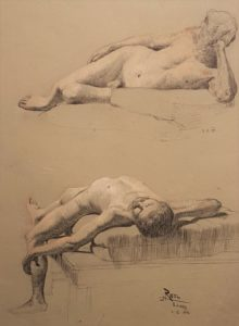 Riedl - männlicher Akt - Federzeichnung - 29x22 cm