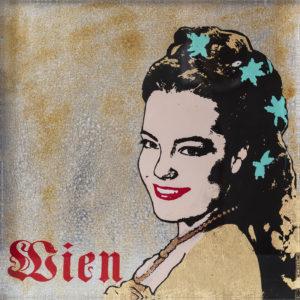 Sissy Siebdruck auf Acrylglas Unikat 30x30cm