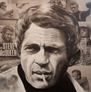 Steve Mc Queen - Acryl auf Leinwand Schattenfugenrahmen 90x90cm