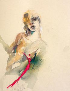 Auf dem Weg#2 - Graphit, Collage, Aquarell auf Papier - 36x28cm