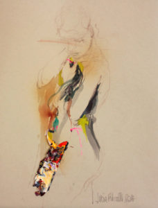 auf dem Weg#1- Graphit, Collage, Aquarell auf Papier - 36x28cm