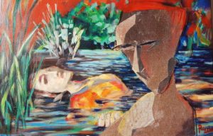 Hernan Ricaldoni - Ophelia is still in the river - Mischtechnik auf Leinwand 40x60cm